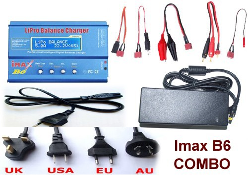 IMAX B6 Combo with 12V 5A AC Adapter 2S-6S 7.4v-22.2V AC/DC Charger with Leads & LiPo Battery Balance Charger