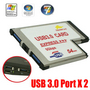 Express Card Expresscard 54 to USB 3.0 x 2 Port Adapter