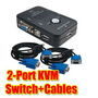 New 2-Port USB 2.0 KVM Switch + VGA cable Mouse/KYB/VID