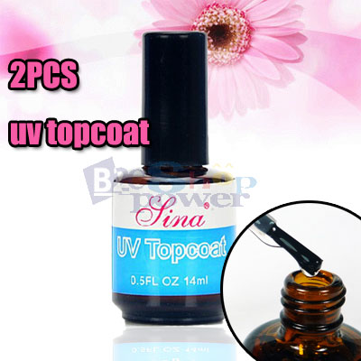 2X UV TOPCOAT Nail Art Gel Top Coat Polish For 3D UV Nail Art  HD