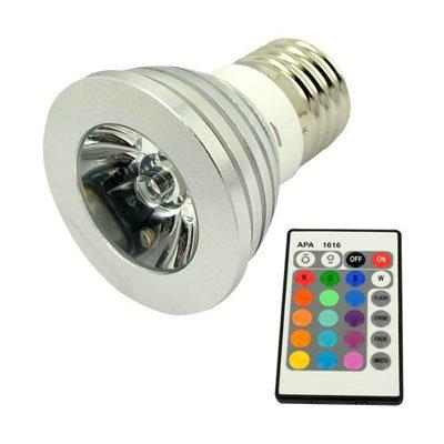 remote control 16 color rgb led bulb light lamp e27 3w wholesale. Black Bedroom Furniture Sets. Home Design Ideas